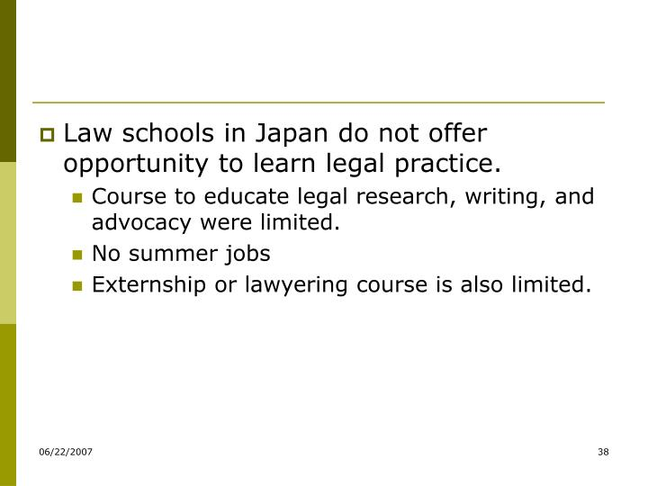 Law schools in Japan do not offer opportunity to learn legal practice.