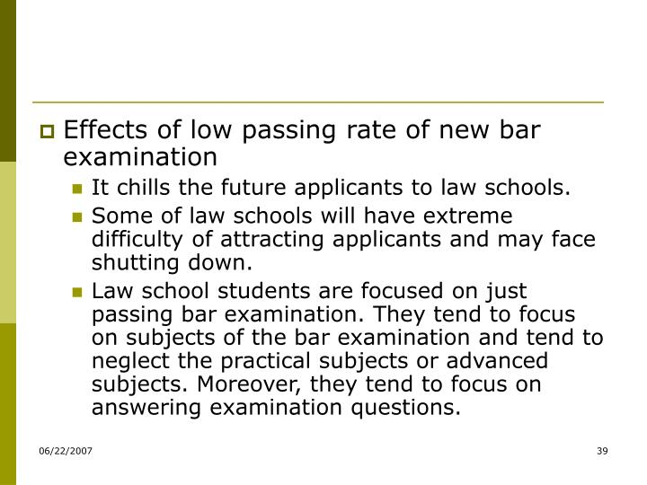 Effects of low passing rate of new bar examination