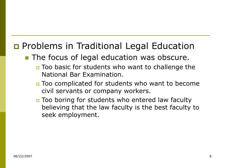 Problems in Traditional Legal Education