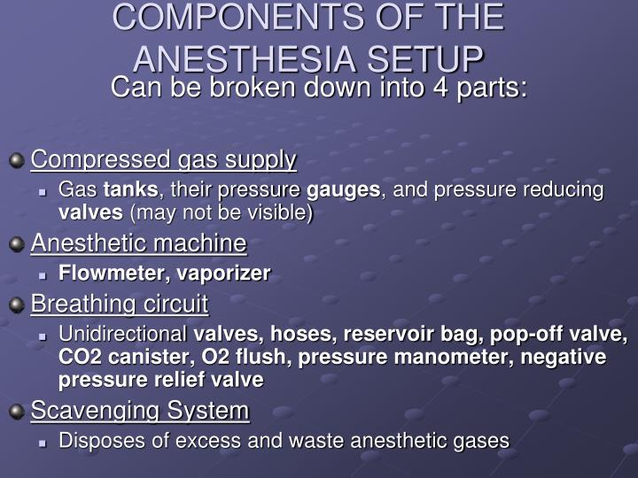 COMPONENTS OF THE ANESTHESIA SETUP