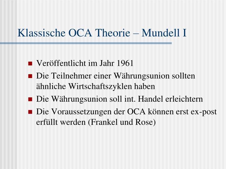Klassische OCA Theorie – Mundell I
