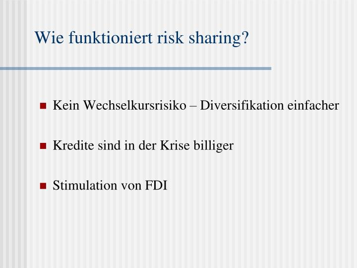 Wie funktioniert risk sharing?
