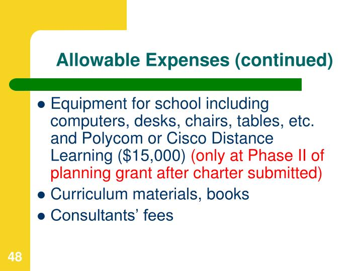 Allowable Expenses (continued)
