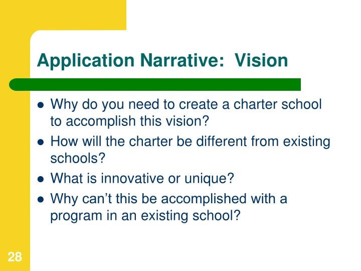 Application Narrative:  Vision