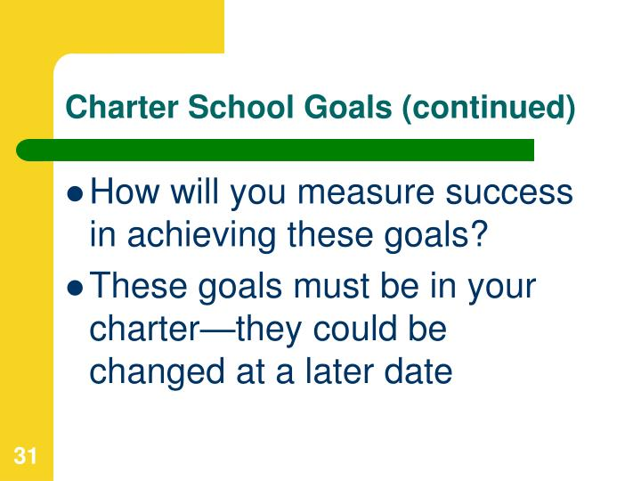 Charter School Goals (continued)