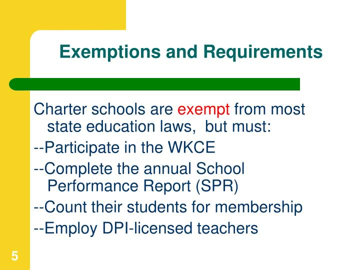 Exemptions and Requirements