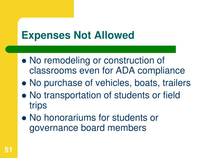 Expenses Not Allowed