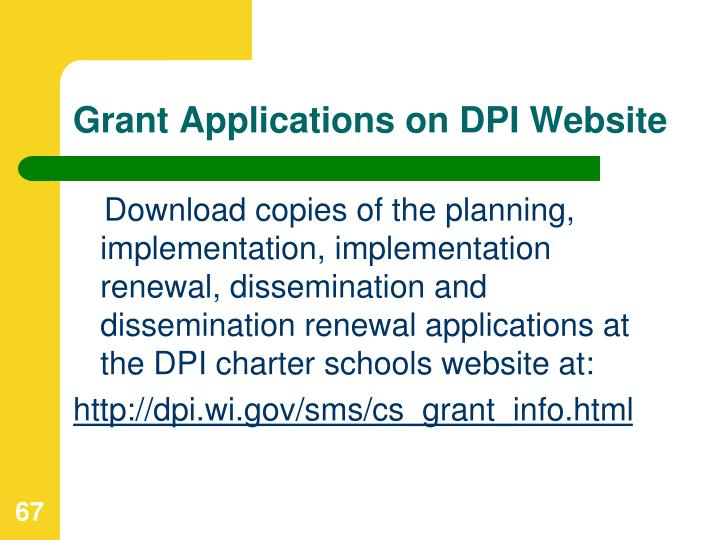 Grant Applications on DPI Website