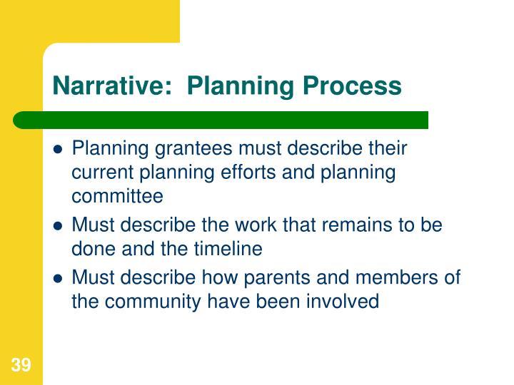 Narrative:  Planning Process