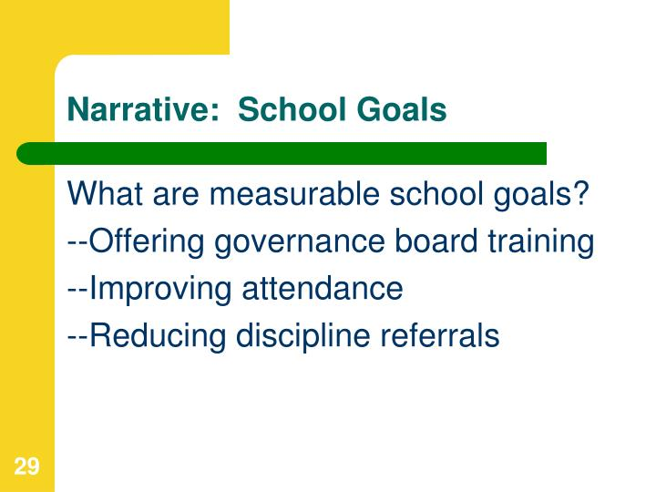 Narrative:  School Goals