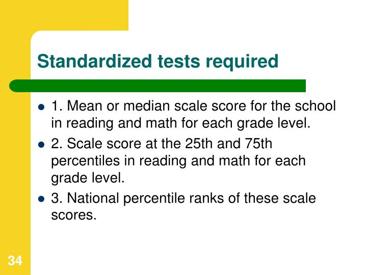 Standardized tests required