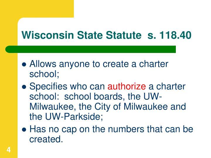 Wisconsin State Statute  s. 118.40