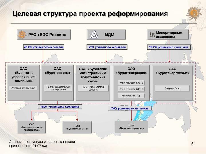 Целевая структура проекта реформирования