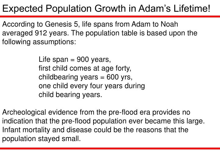 Expected Population Growth in Adam's Lifetime!