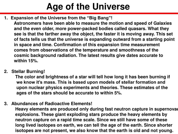 Age of the Universe