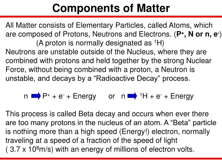 Components of Matter