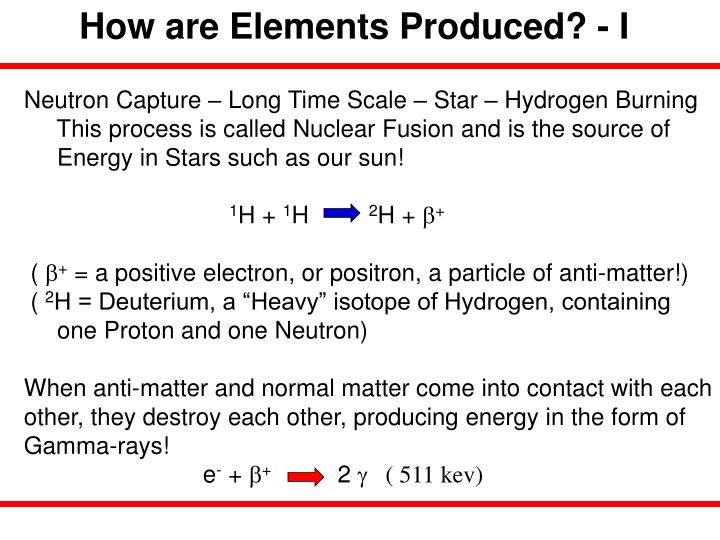 How are Elements Produced? - I