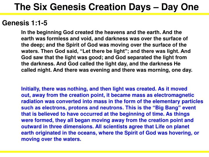The Six Genesis Creation Days – Day One