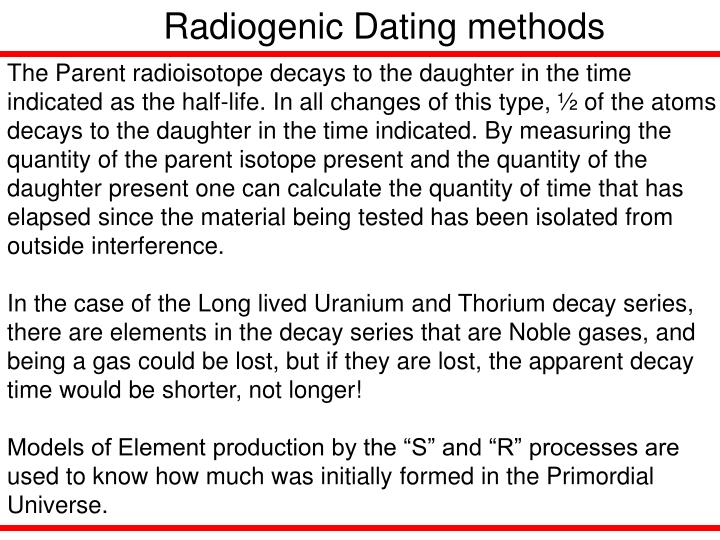 Radiogenic Dating methods