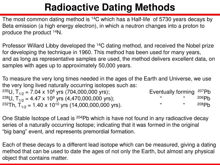 Radioactive Dating Methods
