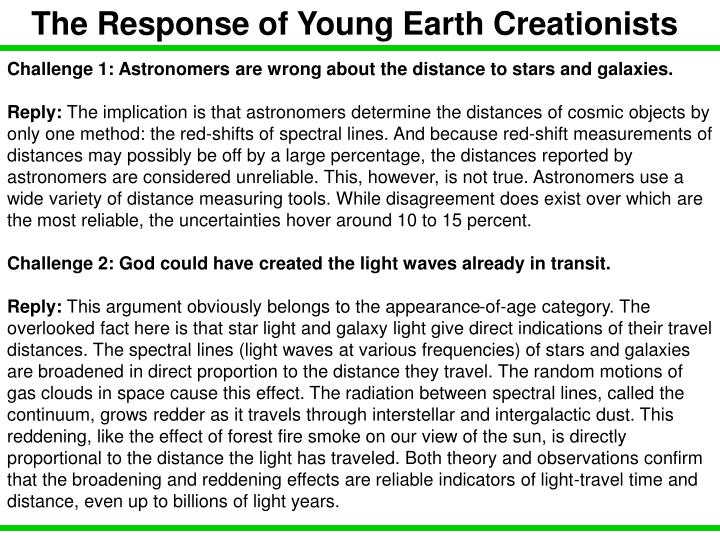 The Response of Young Earth Creationists