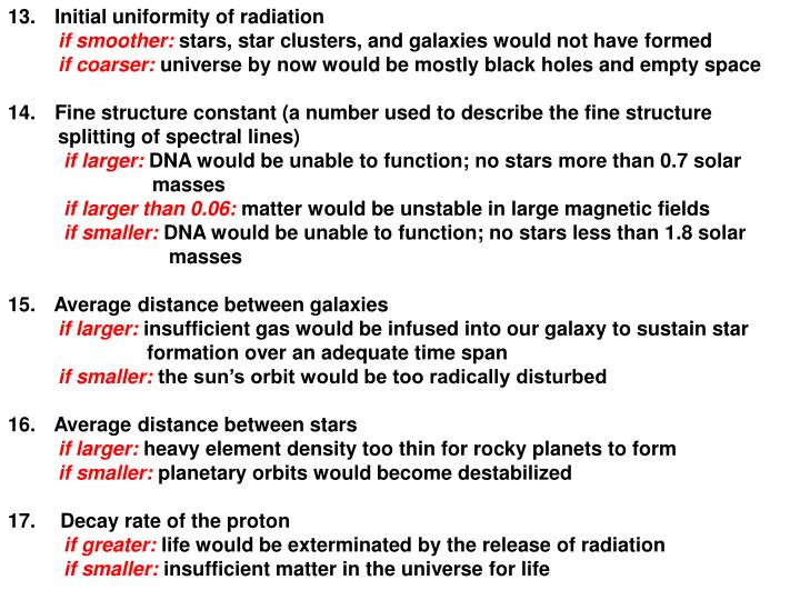 Initial uniformity of radiation
