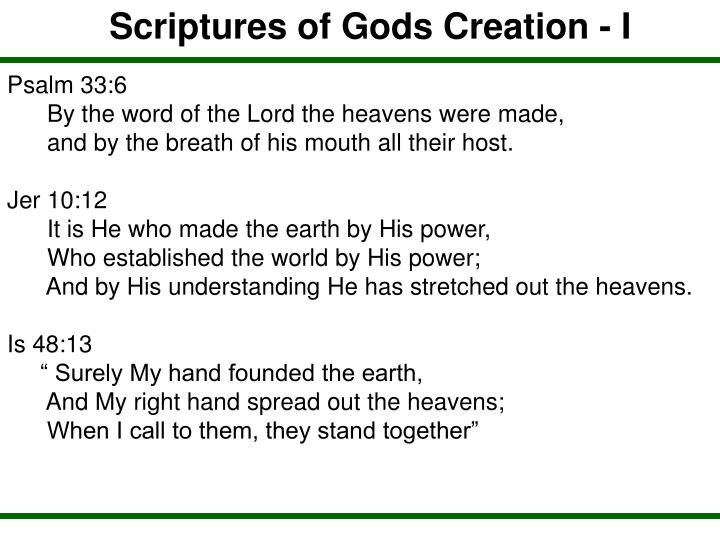 Scriptures of Gods Creation - I