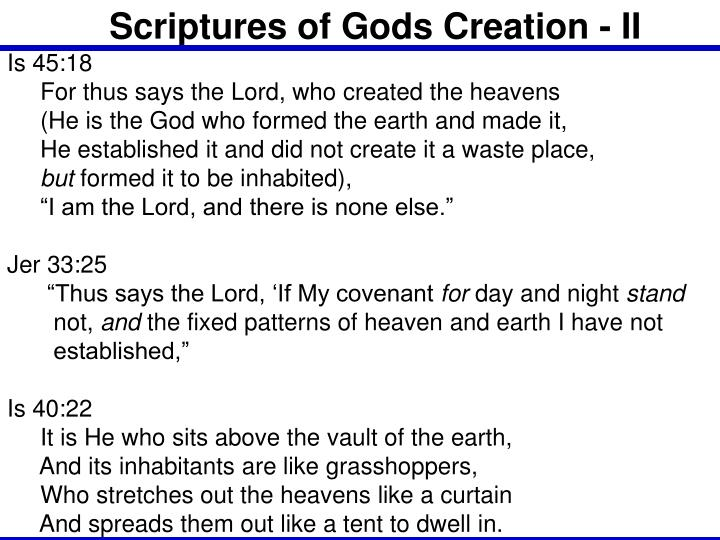 Scriptures of Gods Creation - II
