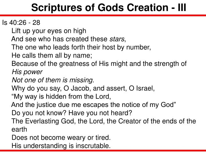 Scriptures of Gods Creation - III
