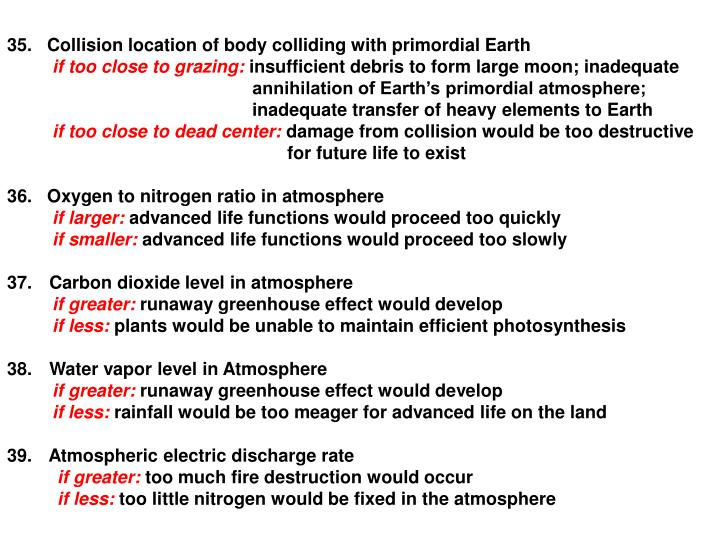 35.   Collision location of body colliding with primordial Earth