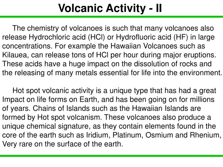 Volcanic Activity - II