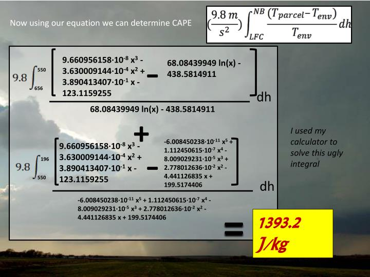 Now using our equation we can determine CAPE