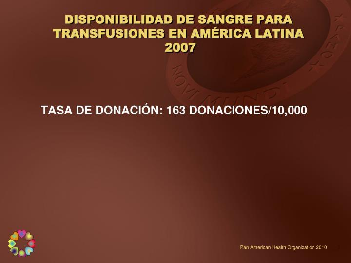 DISPONIBILIDAD DE SANGRE PARA TRANSFUSIONES EN AMÉRICA LATINA