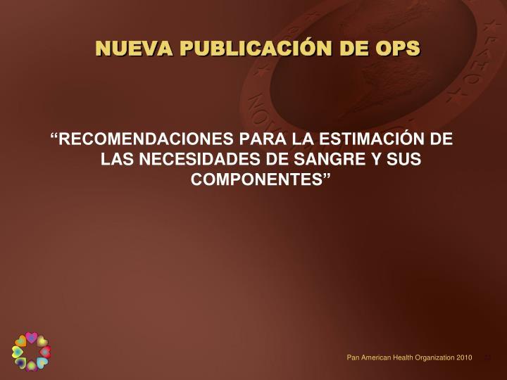 NUEVA PUBLICACIÓN DE OPS