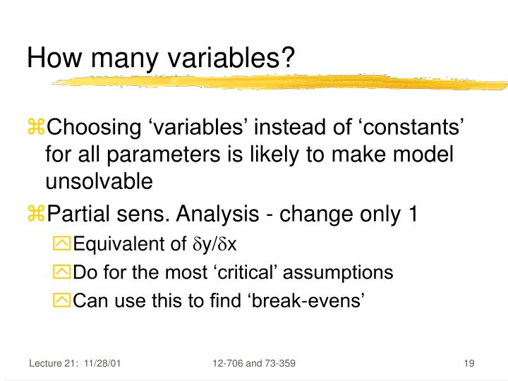 How many variables?