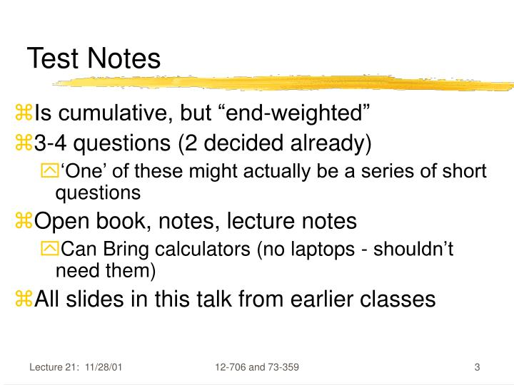 Test Notes