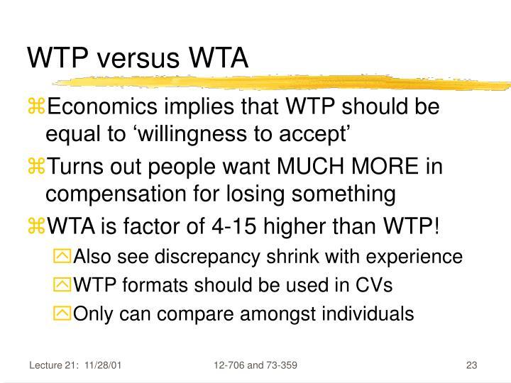 WTP versus WTA