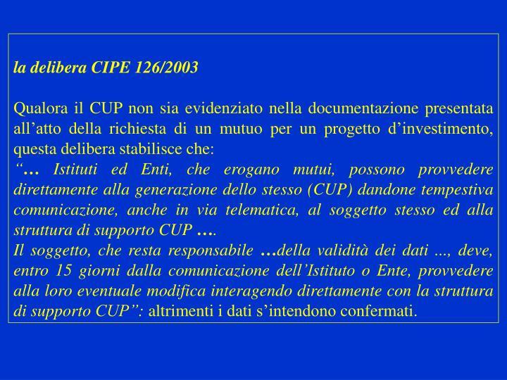 la delibera CIPE 126/2003