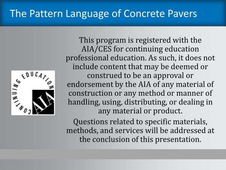 The pattern language of concrete pavers1
