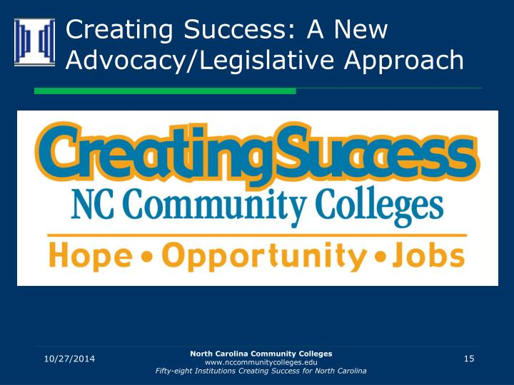 Creating Success: A New Advocacy/Legislative Approach
