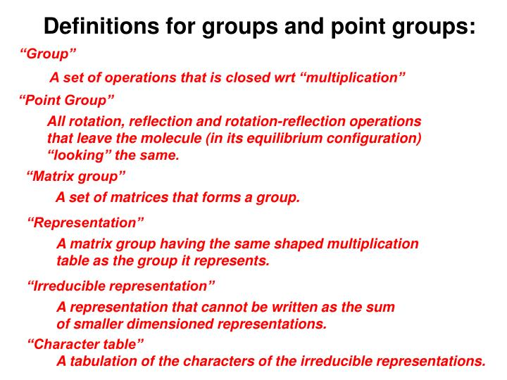 Definitions for groups and point groups: