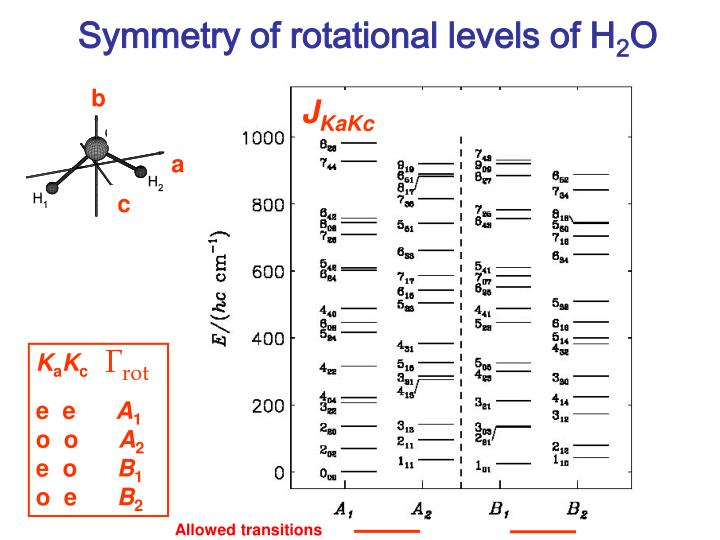 Symmetry of rotational levels of H