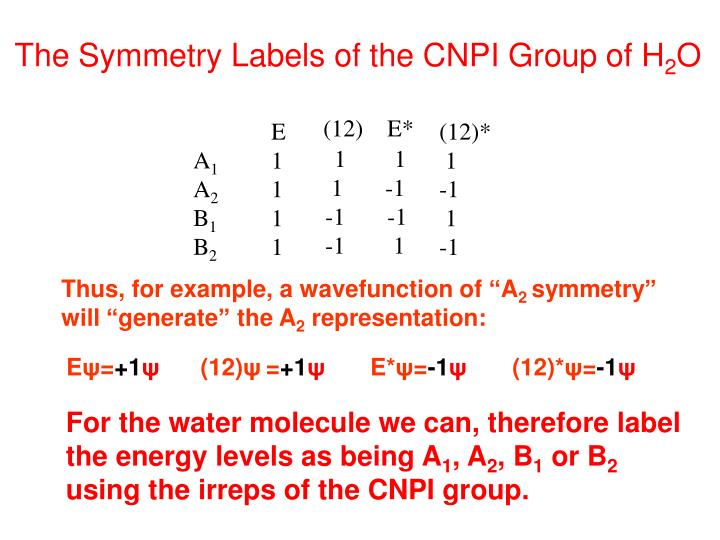 The Symmetry Labels of the CNPI Group of H