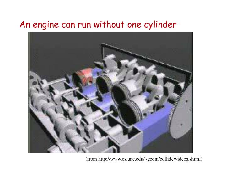 An engine can run without one cylinder