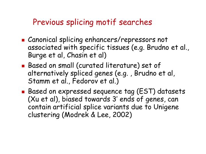 Previous splicing motif searches