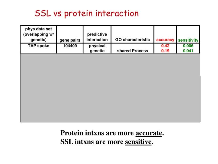SSL vs protein interaction