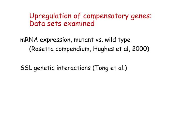 Upregulation of compensatory genes: