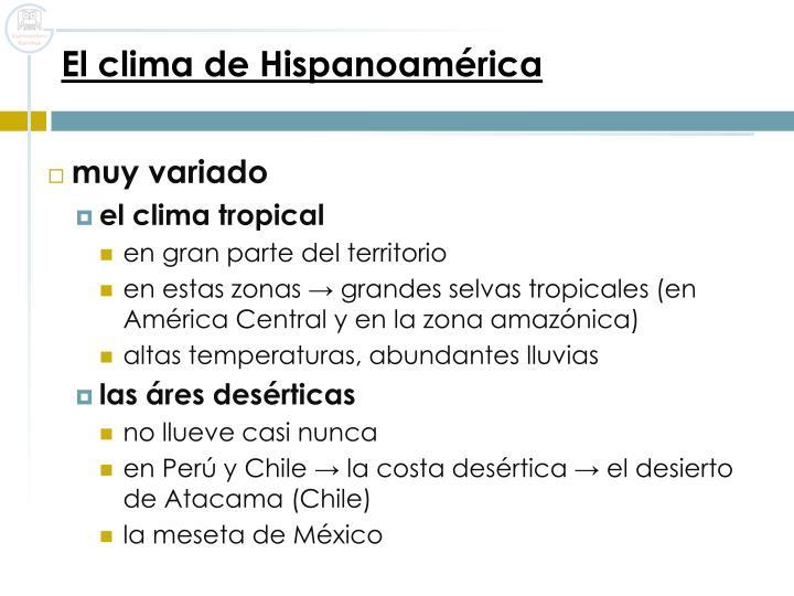 El clima de Hispanoamérica