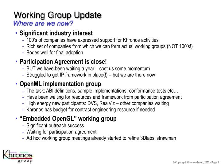 Working Group Update