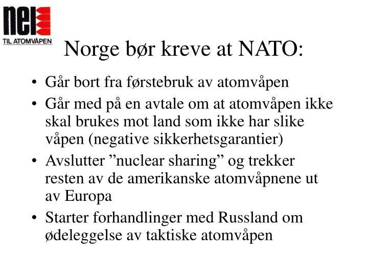 Norge bør kreve at NATO: